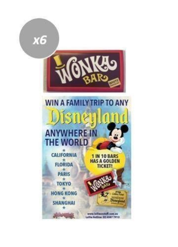 6 x Wonka Bar 50g Edible White Chocolate Bar FIND A GOLDEN TICKET - FOR A CHANCE TO WIN A FAMILY TRIP TO ANY DISNEYLAND ANYWHERE IN THE WORLD