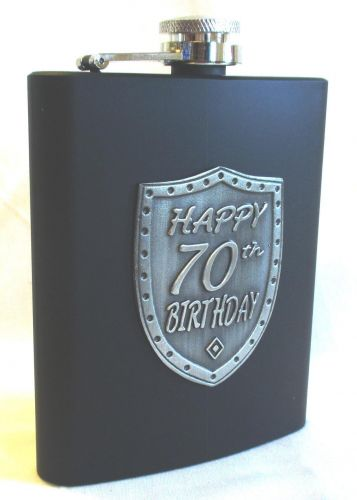 70th Birthday Black 150ml Hip Flask With Badge In Gift Box