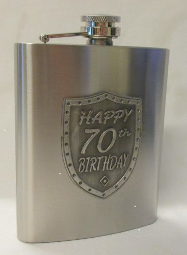 70th Birthday Silver 150ml Hip Flask With Badge In Gift Box