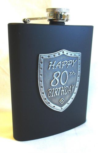 80th Birthday Black 150ml Hip Flask With Badge In Gift Box