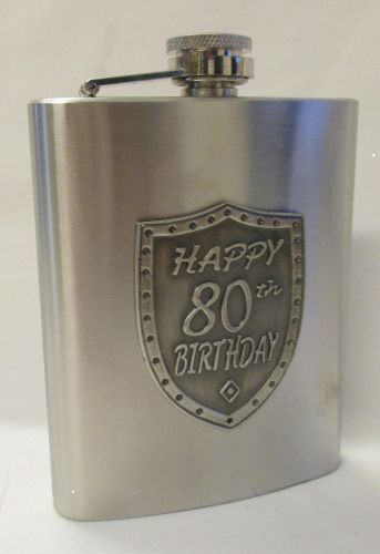 80th Birthday Silver 150ml Hip Flask With Badge In Gift Box