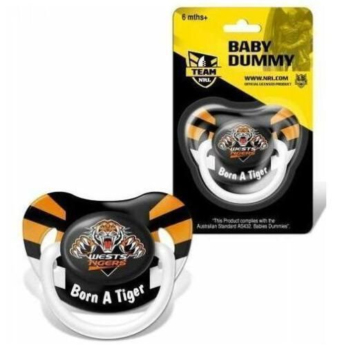 Wests Tigers NRL Team Logo Infant Baby Dummy Pacifier +6 Months