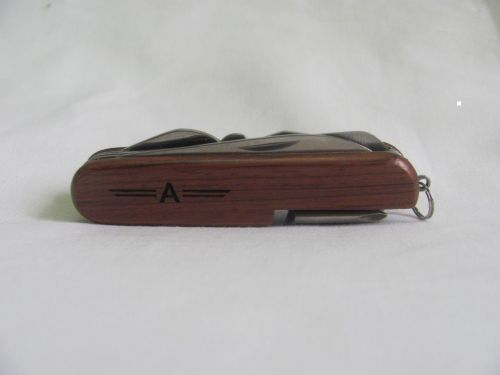 Letter A Personalised Wooden Pocket Knife Multi Tool With 10 Tools / Accessories