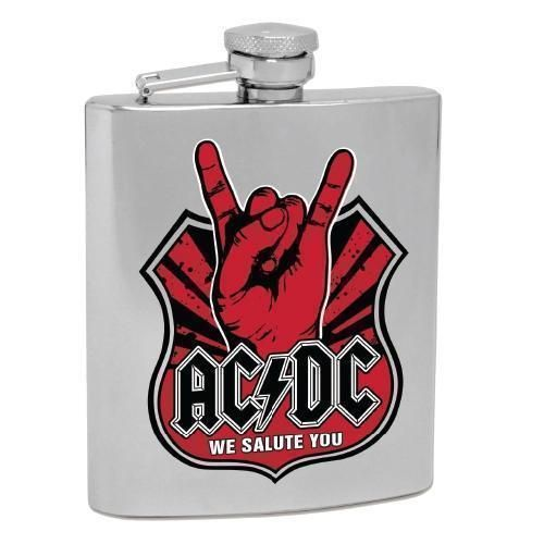 ACDC We Salute You Design 6oz Stainless Steel Hip Flask