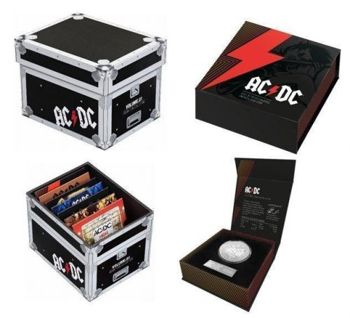 Set of: 2020/2021 ACDC AC/DC 20c Seven Coin Collection Coloured Uncirculated Coins + 2021 ACDC AC/DC $1 Silver Frosted Uncirculated Coin Royal Australian Mint RAM