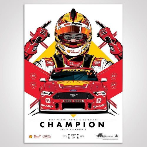 Shell V-Power Racing Team 2019 Scott McLaughlin Champion White Standard Limited Edition Illustrated Print Rolled Poster