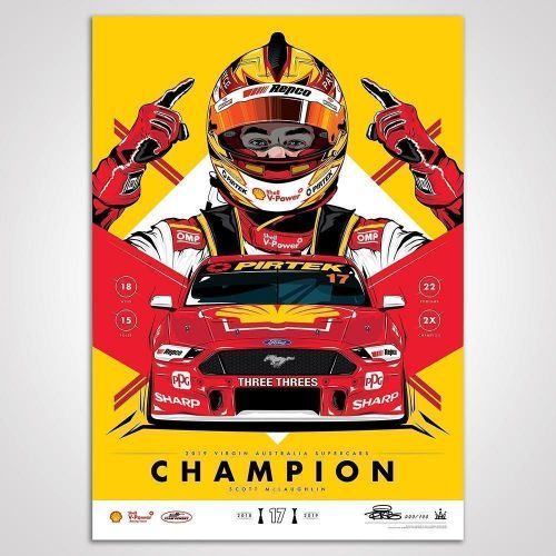 Shell V-Power Racing Team 2019 Scott McLaughlin Champion Yellow Variant Limited Edition Illustrated Print Rolled Poster