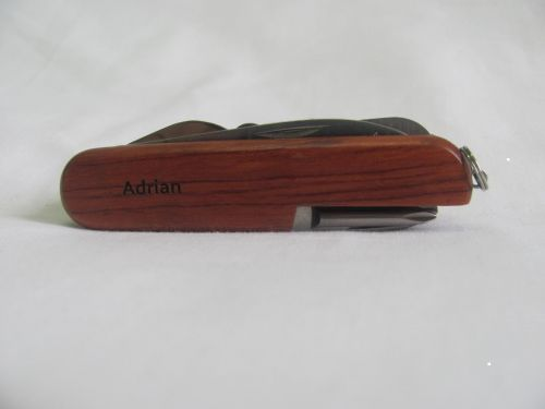 Adrian Name Personalised Wooden Pocket Knife Multi Tool With 10 Tools / Accessories