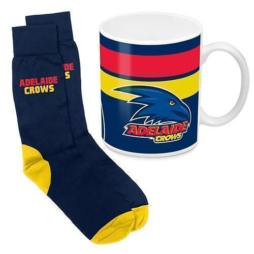 Adelaide Crows AFL 330ml Ceramic Coffee Tea Mug Cup And Jacquard Knit Socks to fit Adult (7-11) Sock Gift Pack