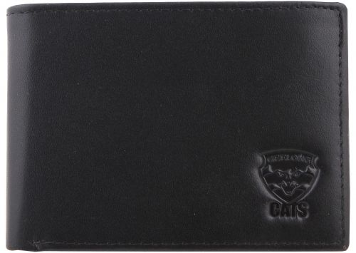 Geelong Cats AFL Team Logo Black Leather Mens Wallet Boxed Great gift Idea