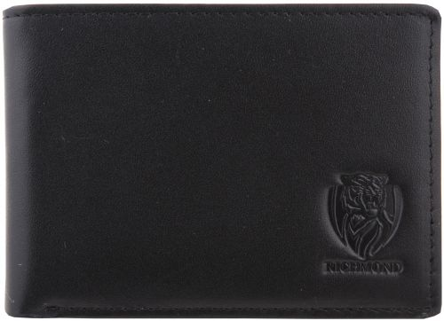Richmond Tigers AFL Team Logo Black Leather Mens Wallet Boxed Great gift Idea