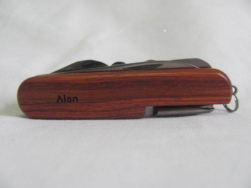 Alan Name Personalised Wooden Pocket Knife Multi Tool With 10 Tools / Accessories