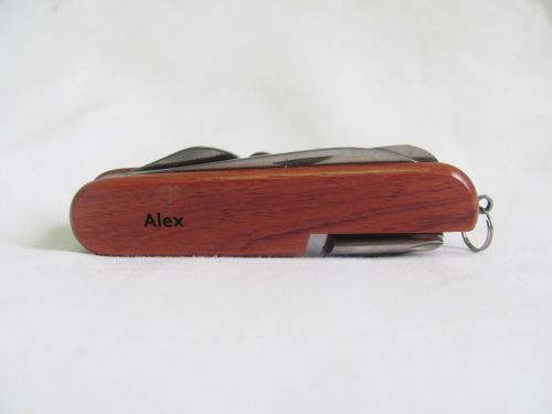Alex Name Personalised Wooden Pocket Knife Multi Tool With 10 Tools / Accessories