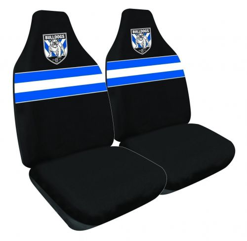 Canterbury Bulldogs NRL Set Of 2 Size 60 High Back Bucket Air Bag Compatible Front Seat Covers