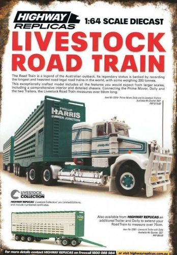 PRE ORDER - Highway Replicas Phillip Harris Burren Junction Livestock Road Train 1:64 Scale Die Cast Model Truck With Additional Trailer & Dolly (FULL PRICE - $248.00)