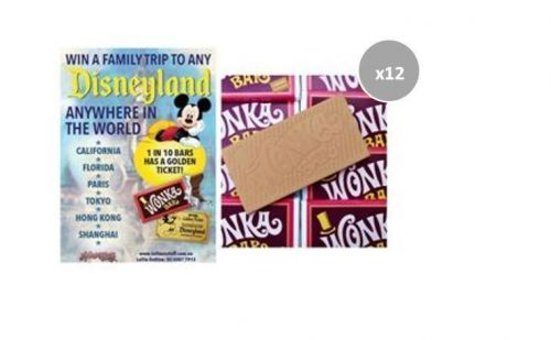 12 x Wonka Bar 50g Edible Caramel Chocolate Bar FIND A GOLDEN TICKET - FOR A CHANCE TO WIN A FAMILY TRIP TO ANY DISNEYLAND ANYWHERE IN THE WORLD
