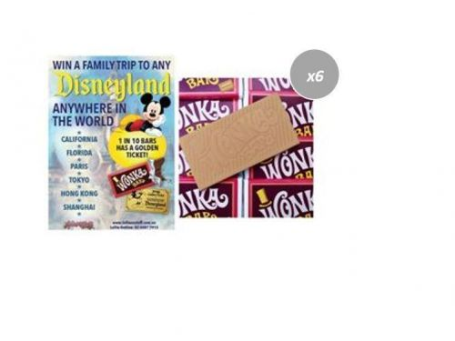 6 x Wonka Bar 50g Edible Caramel Chocolate Bar FIND A GOLDEN TICKET - FOR A CHANCE TO WIN A FAMILY TRIP TO ANY DISNEYLAND ANYWHERE IN THE WORLD