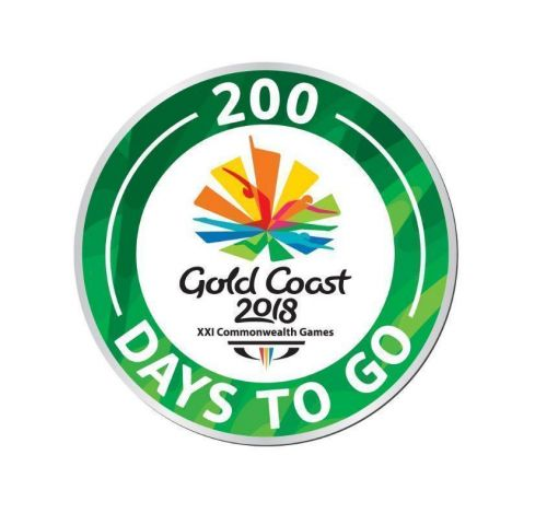 """2018 Gold Coast Commonwealth Games """"200 Days To Go"""" Green Round Metal Collectable Lapel Hat Tie Pin Badge"""