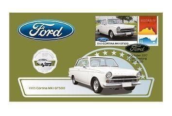 2017 50c Ford Cortina MK1 GT500 Coin & Stamp Cover PNC