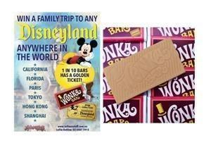 Wonka Bar 50g Edible Caramel Chocolate Bar FIND A GOLDEN TICKET - FOR A CHANCE TO WIN A FAMILY TRIP TO ANY DISNEYLAND ANYWHERE IN THE WORLD