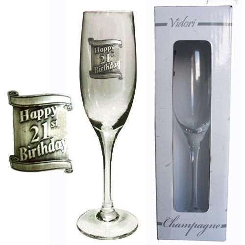 21st Birthday 175ml Champagne Glass Flute With Badge In Gift Box Twenty First