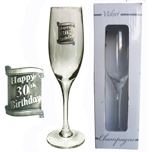 30th Birthday 175ml Champagne Glass Flute With Badge In Gift Box Thirtieth