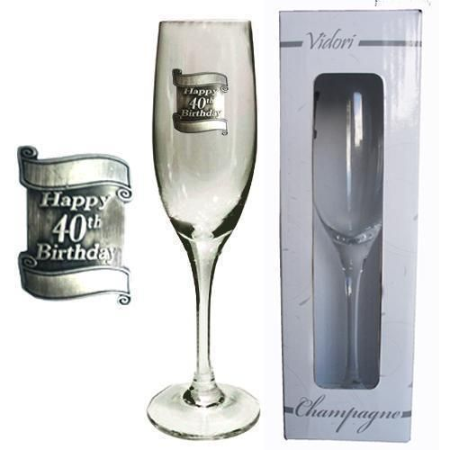 40th Birthday 175ml Champagne Glass Flute With Badge In Gift Box Fortieth