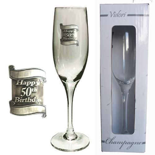 50th Birthday 175ml Champagne Glass Flute With Badge In Gift Box Fiftieth