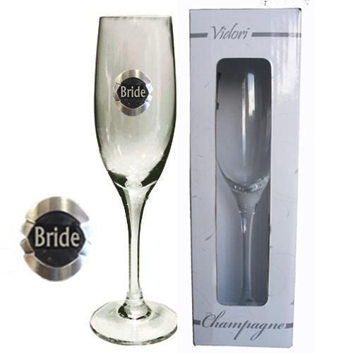 Bride 175ml Champagne Glass Flute With Badge Wedding Table Bridal Party Toasting Celebration