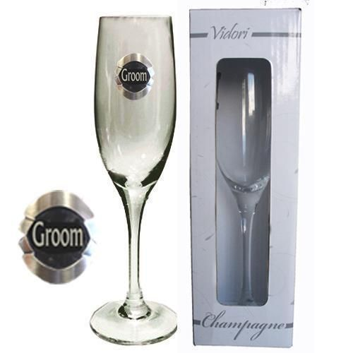 Groom 175ml Champagne Glass Flute With Badge Wedding Table Bridal Party Toasting Celebration