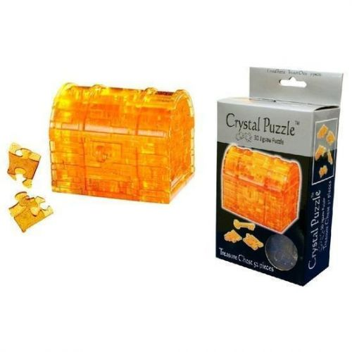 Golden Treasure Chest Box With Key And Lid That Opens 3D Crystal Jigsaw Puzzle 52 Pieces Fun Activity DIY Gift Idea