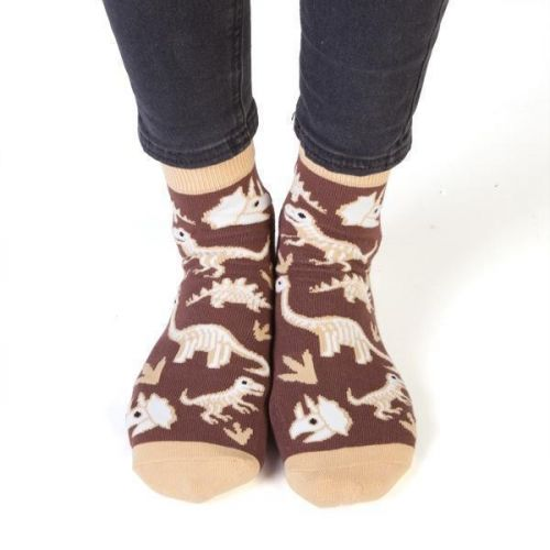 Feet Speaks Dinosaur Bone Tired  Coloured Long Socks With Great Soles One Size Fits Most