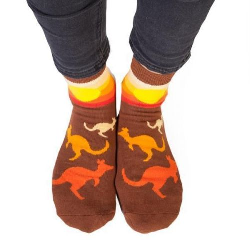 Feet Speaks Kangaroo GDay Mate Coloured Long Socks With Great Soles One Size Fits Most