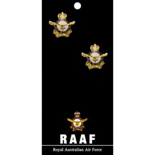 The Royal Australian Air Force 20mm Gold Plated Full Colour Enamel Cuff Links On Card