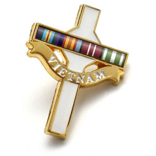 Long Tan Gold Plated Coloured Cross Lapel Pin Badge On Card