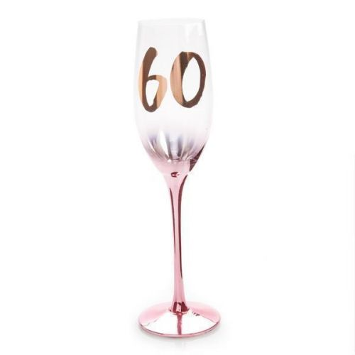 60th Birthday Pink Blush Champagne Glass Flute In Gift Box Sixtieth
