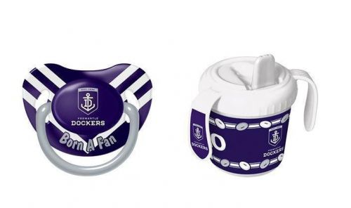 Set Of 2 Fremantle Dockers AFL Team Logo Infant Baby Dummy Pacifier & 2 Handle 250ml Training Sippy Sipper Cup