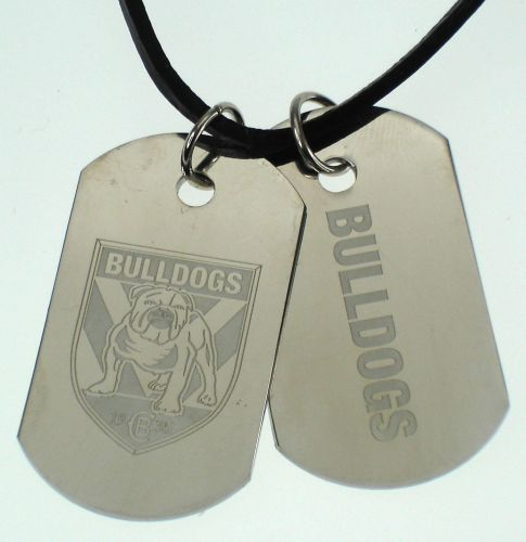 Canterbury Bulldogs NRL Logo Double Dog Tag S/S Leather Necklace Accessories