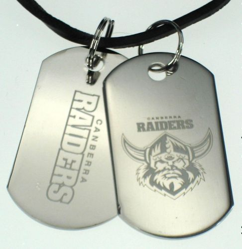 Canberra Raiders NRL Logo Mens Double Dog Tag S/S Leather Necklace Accessories
