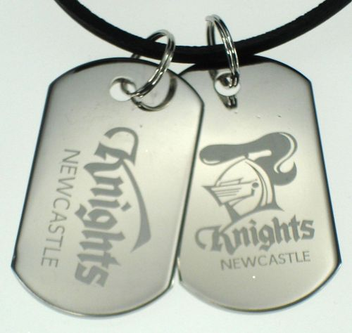 Newcastle Knights NRL Logo Mens Double Dog Tag S/S Leather Necklace Accessories