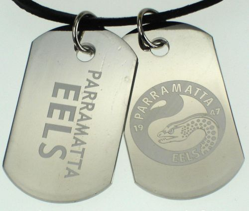 Parramatta Eels NRL Logo Mens Double Dog Tag S/S Leather Necklace Accessories
