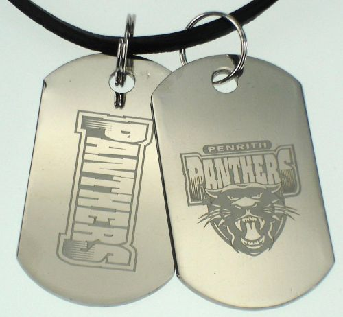 Penrith Panthers NRL Logo Mens Double Dog Tag S/S Leather Necklace Accessories