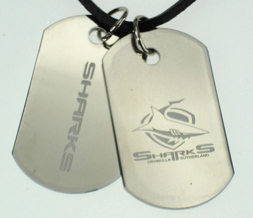 Cronulla Sharks NRL Logo Mens Double Dog Tag S/S Leather Necklace Accessories