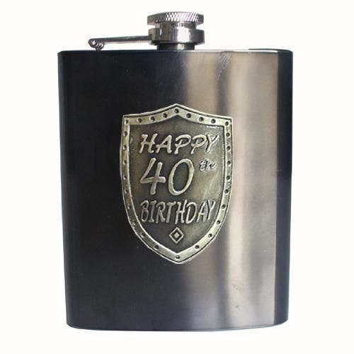 40th Birthday Gunmetal Grey 150ml Hip Flask With Badge In Gift Box Fortieth