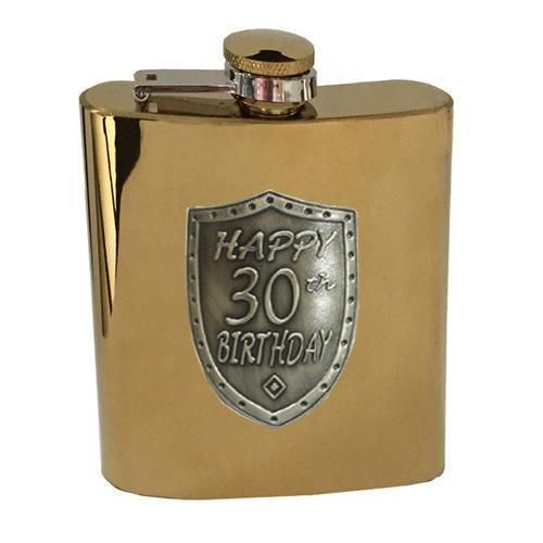 30th Birthday Gold 150ml Hip Flask With Badge In Gift Box Thirtieth