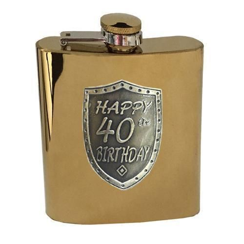 40th Birthday Gold 150ml Hip Flask With Badge In Gift Box Fortieth