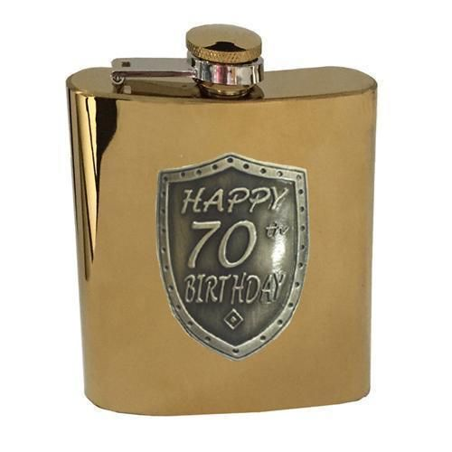 70th Birthday Gold 150ml Hip Flask With Badge In Gift Box Seventieth