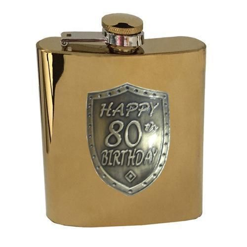 80th Birthday Gold 150ml Hip Flask With Badge In Gift Box Eightieth
