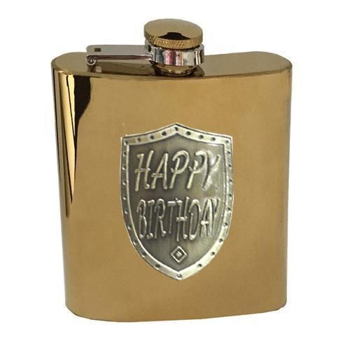Happy Birthday Gold 150ml Hip Flask With Badge In Gift Box