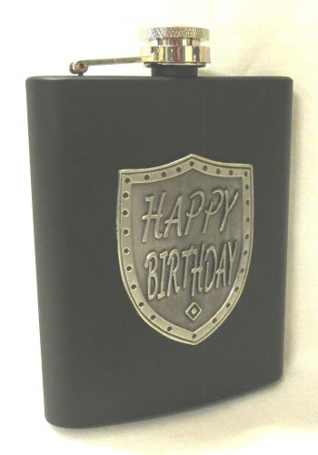 Happy Birthday Black 150ml Hip Flask With Badge In Gift Box
